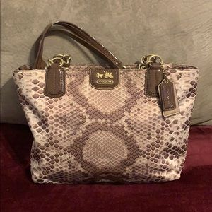 Coach Madison sateen python tote